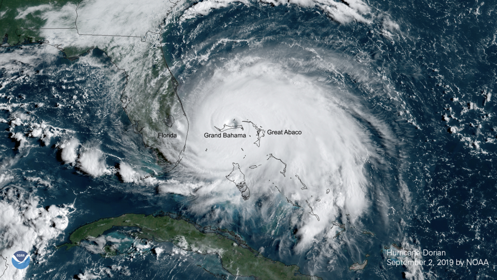 Satellite image of Hurricane Dorian from NOAA