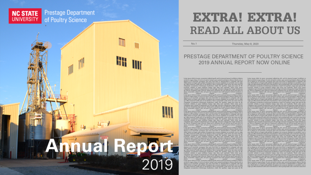 graphic announcing the 2019 Annual Report from the Prestage Department of Poultry Science