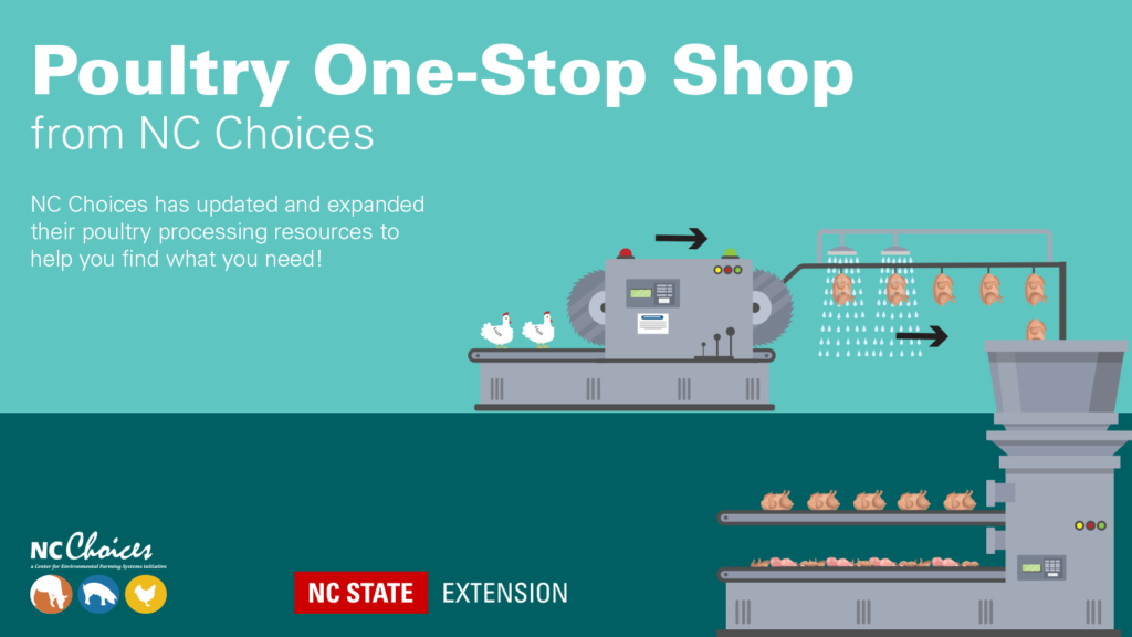 Processing illustration with text Poultry One-Stop Shop from NC Choices