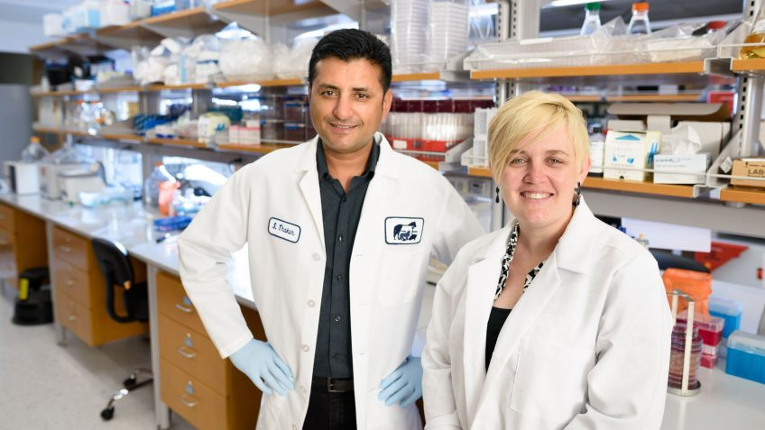 a man and a woman in lab coats and gloves stand together in a lab