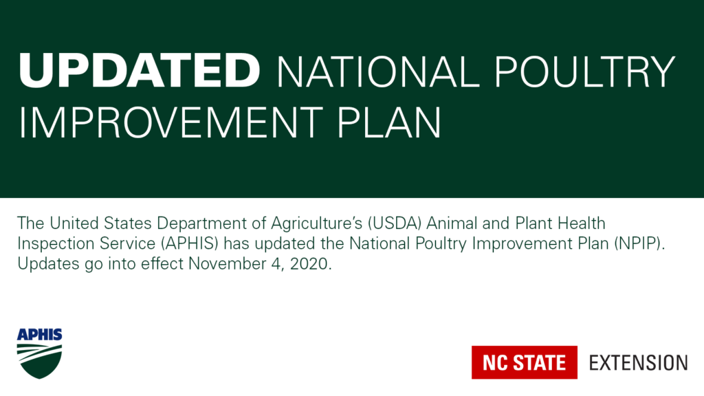 Banner with text Updated National Poultry Improvement Plan and APHIS and NC State Extension logos