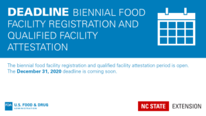 FDA attestation deadline banner with text Deadline Biennial Food Facility Registration and Qualified Facility Attestation