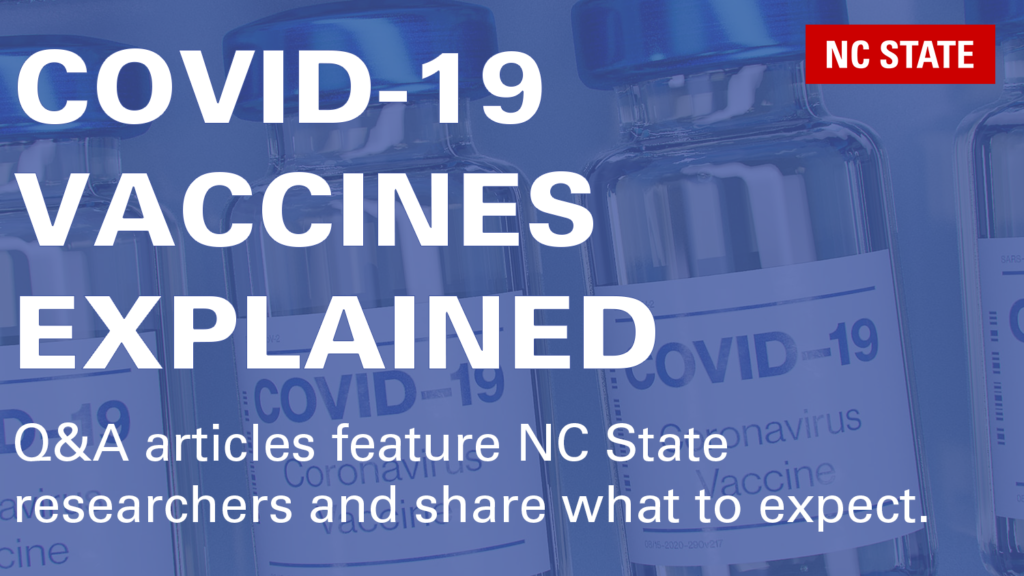 COVID-19 vials with overlaid text COVID-19 Vaccines Explained
